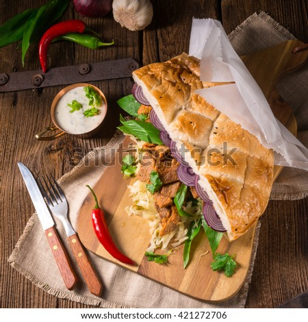 Gyros pita with wild garlic - stock photo