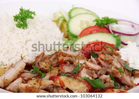 Gyros with rise and vegetables - stock photo