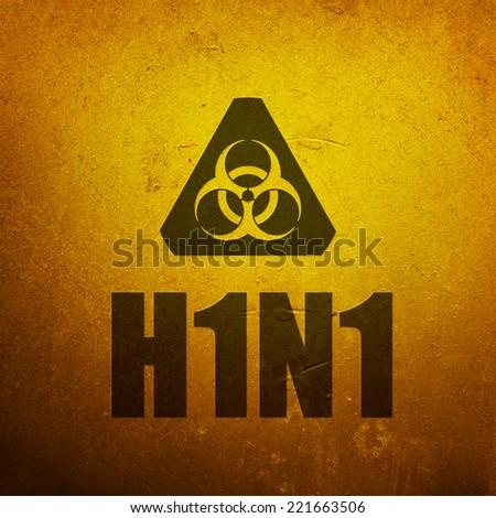 H1N1 Swine Flu biohazard yellow alert sign - stock photo