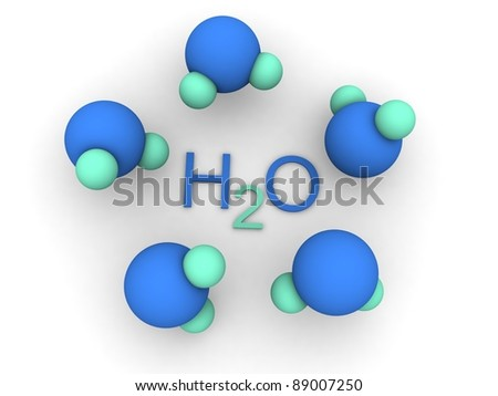 H2o style molecules - stock photo