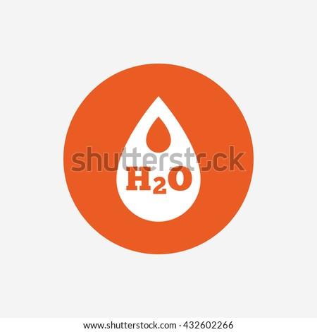 H2O Water drop sign icon. Tear symbol. Orange circle button with icon.  - stock photo