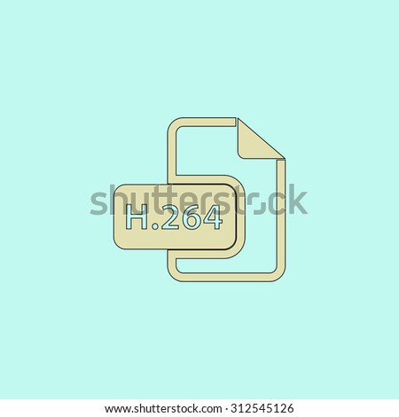 H264 video file extension. Flat simple line icon. Retro color modern illustration pictogram. Collection concept symbol for infographic project and logo - stock photo