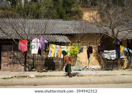 Ha Giang, Vietnam - Feb 14, 2016: Ethnic minority Hmong house in mountain with Hmong little girl carrying cabbage flower on her back in spring season - stock photo