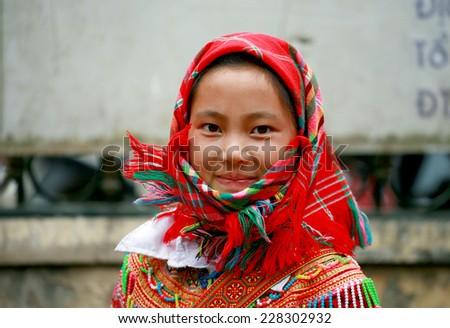 HA GIANG, VIETNAM - October 18, 2014: Portrait of an ethnic Hmong children in Ha Giang, Vietnam. - stock photo