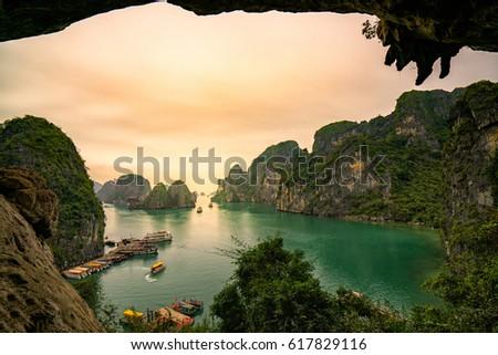 Ha Long Bay scenic view during sun set time , Hanoi, Vietnam