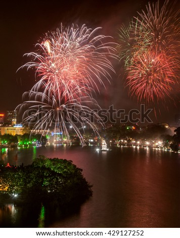 HA NOI, VIET NAM, February 8, 2016 Hoan Kiem Lake, the center of Ha Noi, Vietnam, fireworks, New Year's Eve