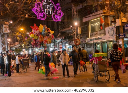 HA NOI, VIET NAM, September 13, 2016 Ha Noi Old Quarter, in the evening. This is a walking neighborhood, many tourists stroll