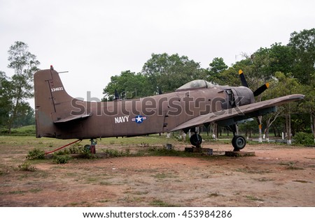 Ha Tinh, Vietnam, July 11, 2016 fighters. At the ruins of war - Dong Loc T-junction, Ha Tinh, Vietnam