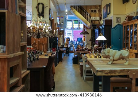 Haarlem, the Netherlands - June 20, 2015: Interior of furniture and wooden handmade products shop on Kruisstraat street. Haarlem is the popular holland tourist centre