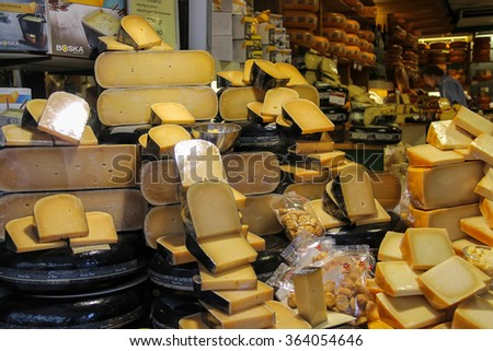 Haarlem, the Netherlands - June 20, 2015: Shelves with famous Dutch cheese in the traditional cheese shop. Haarlem is the popular holland tourist centre