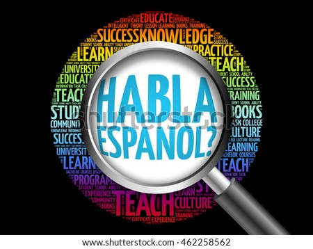 Habla Espanol? (Speak Spanish?) word cloud with magnifying glass, education concept 3D illustration