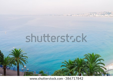 habour of Nice and cote dAzur coast from above, France - stock photo