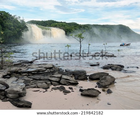 Hacha waterfall in the lagoon of Canaima national park after the storm - Venezuela, Latin America - stock photo