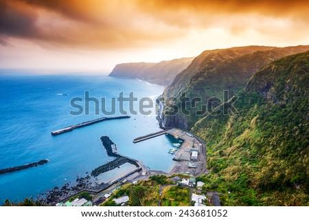 Hachijojima, Island, Tokyo, Japan coastline and harbor. - stock photo