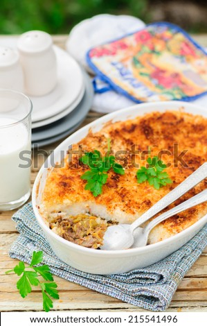 Hachis Parmentier, French Version of Shepherd's or Cottage Pie, Precooked Beef and Vegetables Covered with Potato Mash, copy space for your text - stock photo