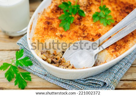 Hachis Parmentier, French Version of Shepherd's or Cottage Pie, Precooked Beef and Vegetables Covered with Potato Mash - stock photo