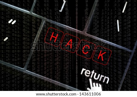 Hack concept with the focus on the return button overlaid with binary code - stock photo