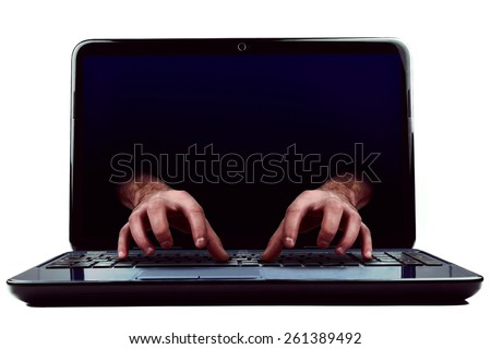Hacked computer   - stock photo