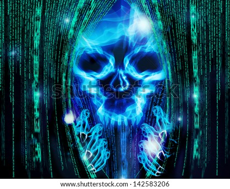 hacker attack background with skull - stock photo