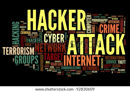 Hacker attack concept in word tag cloud isolated on black background - stock photo