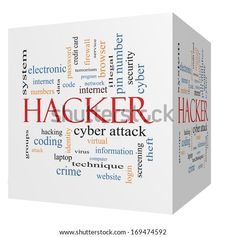 Hacker 3D Cube Word Cloud Concept with great terms such as firewall, cyber, attack, crime and more. - stock photo