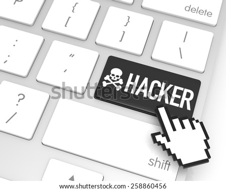 Hacker enter key with hand cursor. 3D rendering