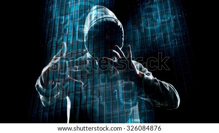 Hacker hacking hologram computer network - stock photo