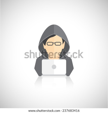 Hacker icon man in hoody with laptop flat isolated on white background  illustration - stock photo
