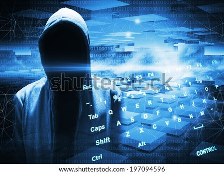 Hacker in a hood on dark blue digital background - stock photo