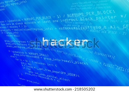 Hacker on computer binary code on blue and aqua abstract background - stock photo