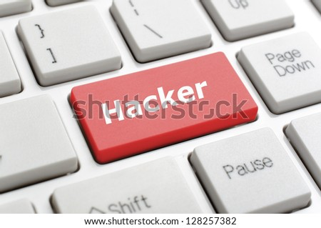 Hacker on keyboard