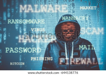 hacker over a screen with binary code surrounded by hacking colorful hacking terms and words