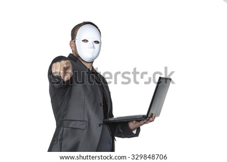 hacker pointing at you - stock photo