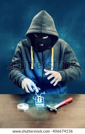 Hacker trying to break mobile phone protection, firewall fighting back - stock photo