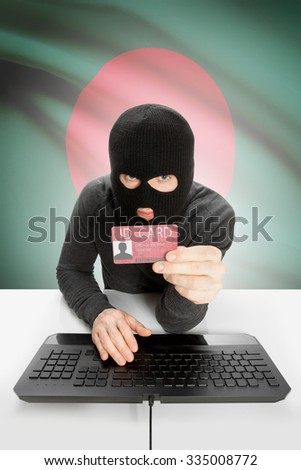 Hacker with ID card in hand and flag on background - Bangladesh - stock photo