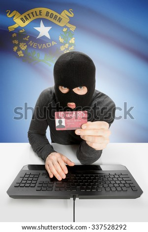 Hacker with ID card in hand and USA states flag on background - Nevada - stock photo