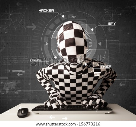 Hacker without identity in futuristic enviroment hacking personal information on tech background - stock photo