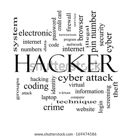 Hacker Word Cloud Concept in black and white with great terms such as firewall, cyber, attack, crime and more. - stock photo