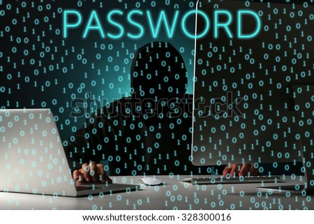 Hacker working with computer, binary code background - stock photo