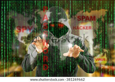 Hackers programmer using computer laptop for hack information and data from user account.