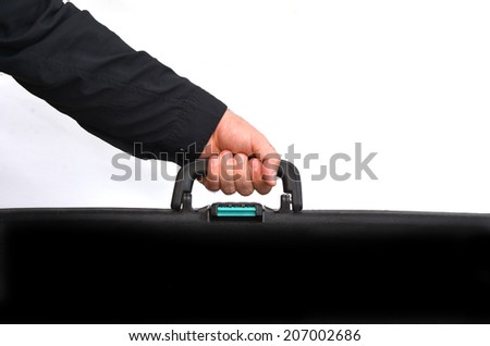 Had of a man carry travel suitcase against white background with copy space. Concept photo of travel, vacation, holiday, destination, tourism, traveler, tourist.