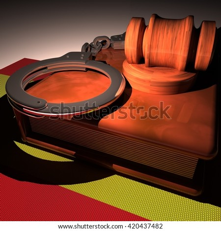 Hadcuffs, gavel and book over Spain flag, 3d rendering