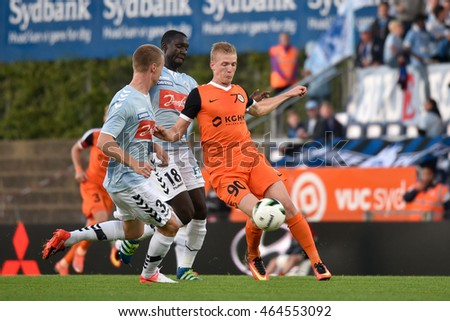 HADERSLEV, DENAMRK - AUGUST 4, 2016: Third Round Elimination to European League match SonderjyskE - KGHM Zaglebie Lubin 1:1. In action Jan Vlasko.