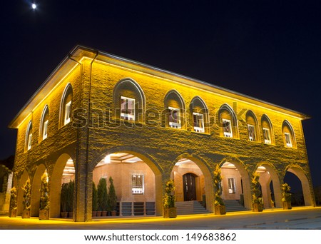 Hadji Bayram Mosque, one of the famous mosque at Ankara - night, Turkey
