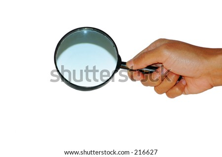 hadn hold the magnifying glass