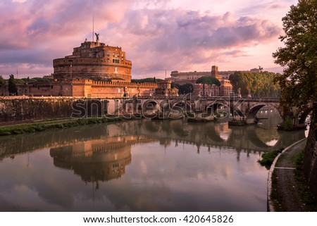 Hadrian Masoleum and Sant Angelo Bridge in the Morning, Rome, Italy