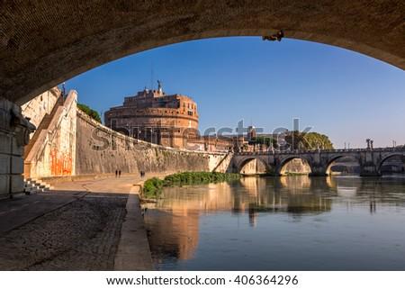 Hadrian Mausoleum and Tiber River Embankment, Rome, Italy - stock photo