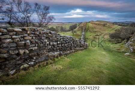 Hadrian's Wall on the undulating landscape of Walltown Crags.