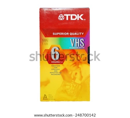 HAGERSTOWN, MD - JANUARY 31, 2015:  Image of old RCA VCR tape.  TDK is a brand that sold VHS tapes. - stock photo