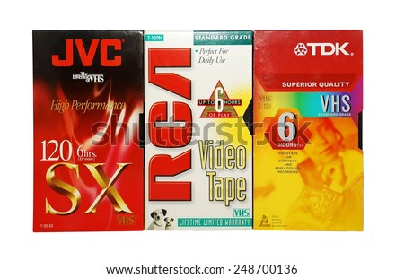 HAGERSTOWN, MD - JANUARY 31, 2015:  Image of old VCR tapes isolated on a white background. - stock photo